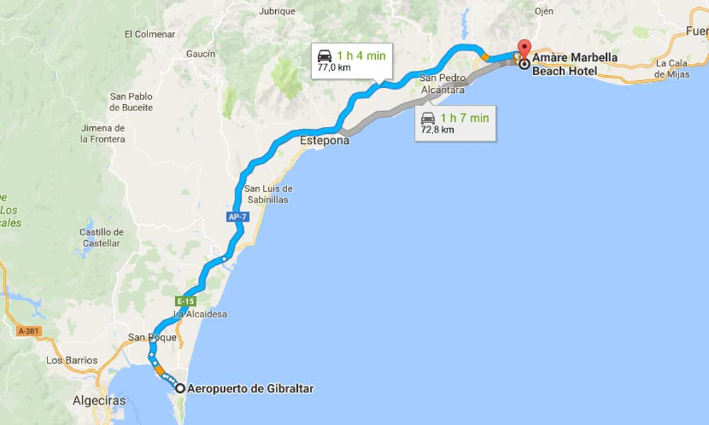 How to get to Marbella - Gibraltar - Marbella by car